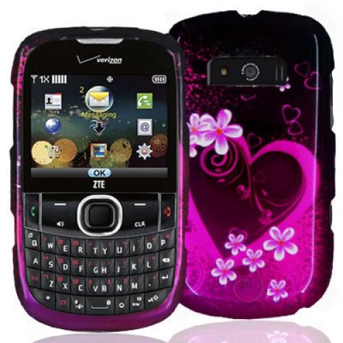 ZTE Adamant F450 Purple Love Design Crystal Hard Case Cover