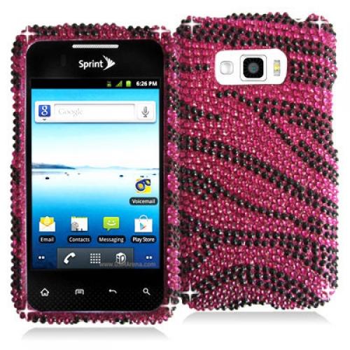 LG Optimus Elite LS696 Black / Hot Pink Zebra Bling Rhinestone Case Cover