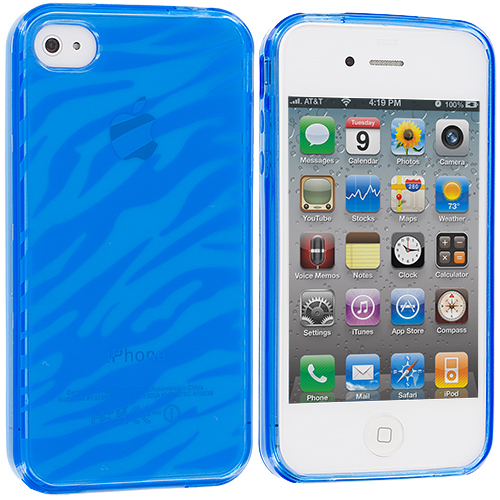 Apple iPhone 4 / 4S 2 in 1 Combo Bundle Pack - Baby Blue Red Zebra TPU Rubber Skin Case Cover : Color Baby Blue Zebra