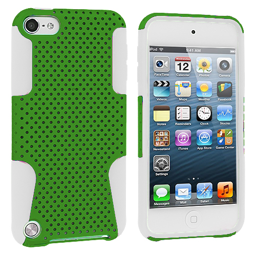 Apple iPod Touch 5th 6th Generation White / Green Hybrid Mesh Hard/Soft Case Cover
