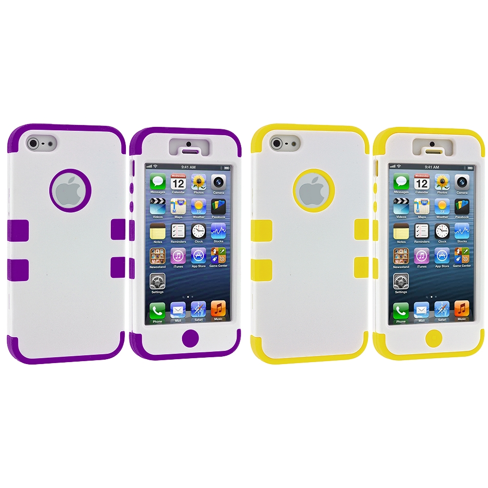 Apple iPhone 5/5S/SE Combo Pack : White / Purple Hybrid Tuff Hard/Soft 3-Piece Case Cover