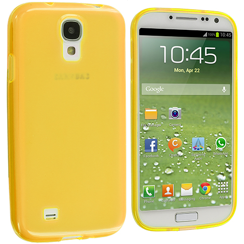 Samsung Galaxy S4 2 in 1 Combo Bundle Pack - Clear Yellow Plain TPU Rubber Skin Case Cover : Color Yellow Plain