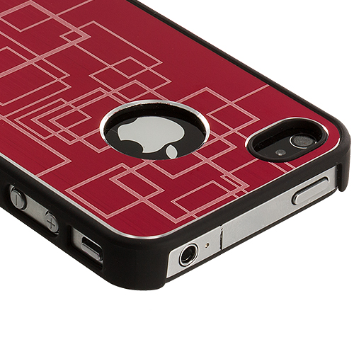 Apple iPhone 4 / 4S Red Metal Grid Aluminum Metal Hard Case Cover