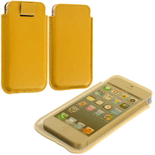 Apple iPhone 5/5S/SE Combo Pack : Baby Blue Sleeve Pouch : Color Yellow