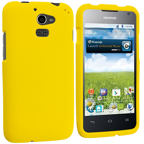 Huawei Premia 4G Yellow Hard Rubberized Case Cover