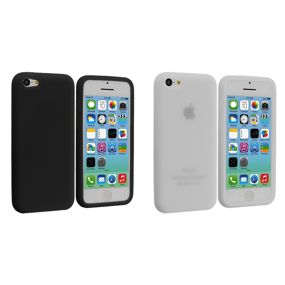Apple iPhone 5C 2 in 1 Combo Bundle Pack - Black Clear Silicone Soft Skin Case Cover