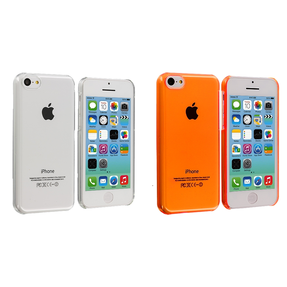 Apple iPhone 5C 2 in 1 Combo Bundle Pack - Clear Orange Transparent Crystal Hard Back Cover Case
