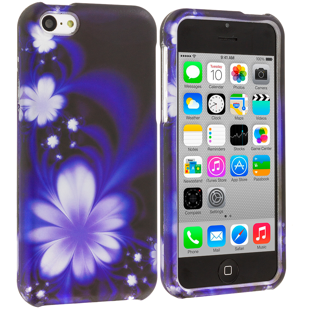 Apple iPhone 5C Blue Lotus on Black Hard Rubberized Design Case Cover