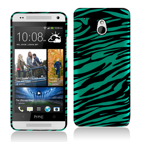 HTC One Mini Black/Baby Blue Zebra Hard Rubberized Design Case Cover