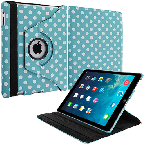 Apple iPad Mini Baby Blue White Polka Dot 360 Rotating Case Cover Pouch Stand