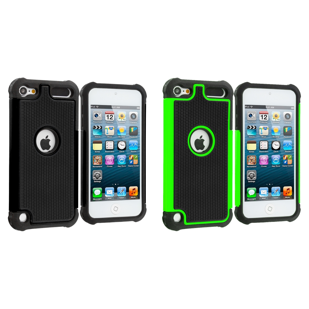 Apple iPod Touch 5th 6th Generation 2 in 1 Combo Bundle Pack - Black / Green Hybrid Rugged Hard/Soft Case Cover