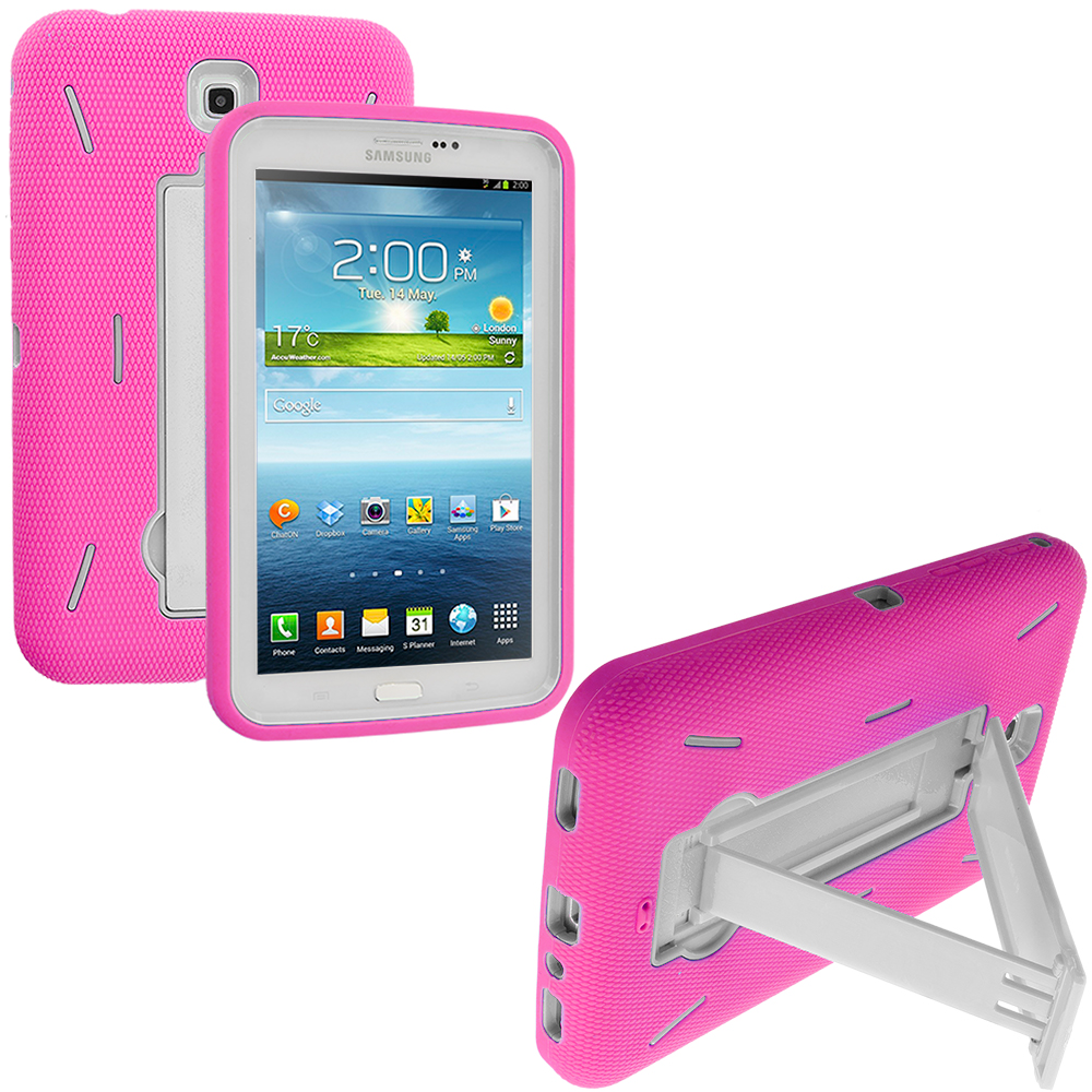 Samsung Galaxy Tab 3 7.0 Hot Pink / White Hybrid Heavy Duty Hard/Soft Case Cover with Stand