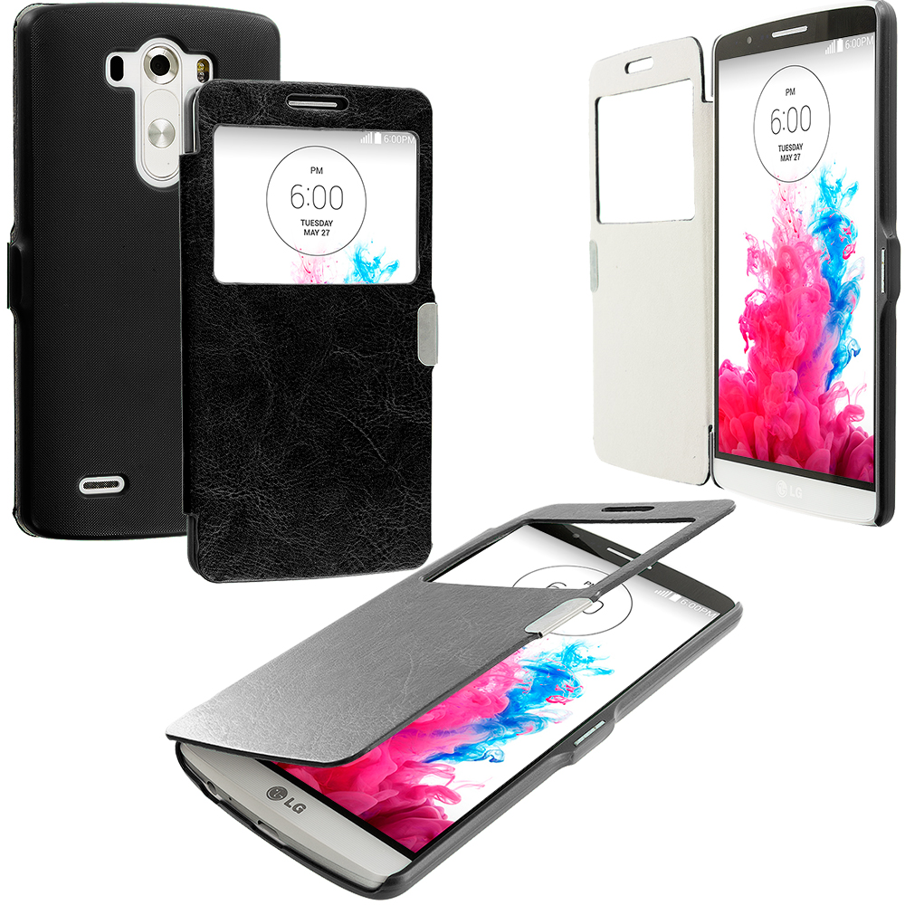 LG G3 Black (Open Front) Magnetic Wallet Case Cover Pouch