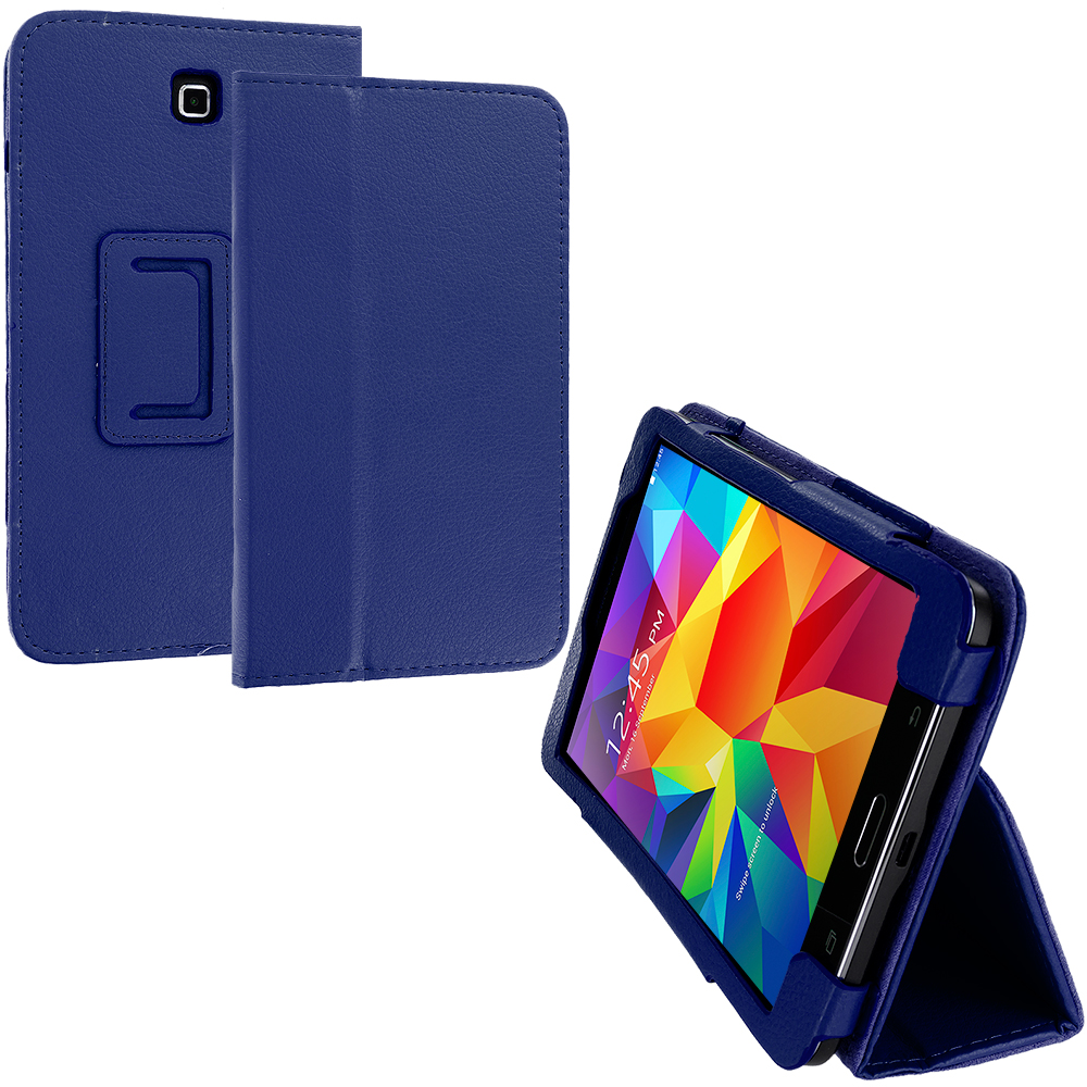 Samsung Galaxy Tab 4 7.0 Navy Blue Folio Pouch Flip Case Cover Stand