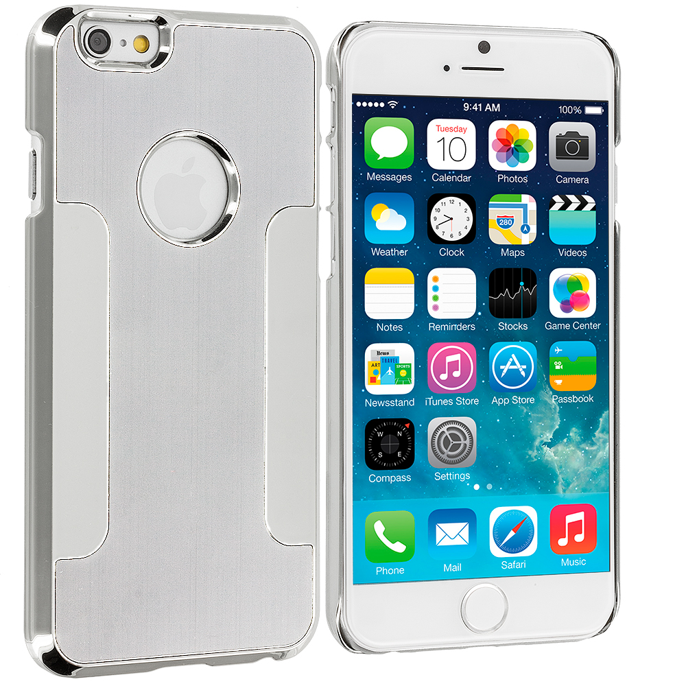 Apple iPhone 6 6S (4.7) Silver Brushed Metal Aluminum Metal Hard Case Cover