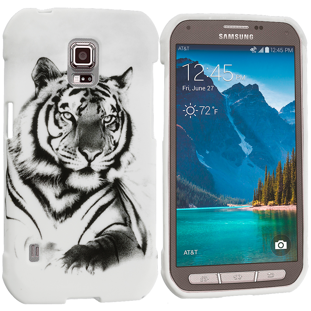 Samsung Galaxy S5 Active White Tiger TPU Design Soft Rubber Case Cover
