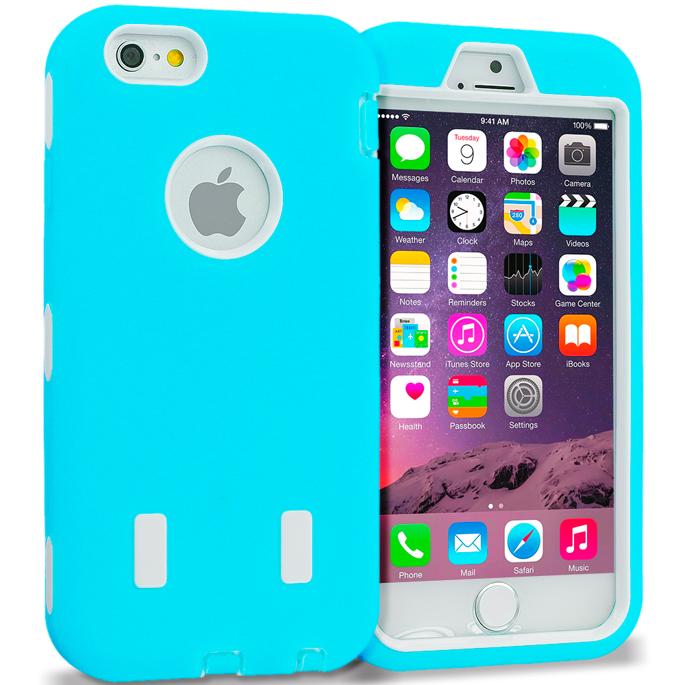 Apple iPhone 6 6S (4.7) Baby Blue / White Hybrid Deluxe Hard/Soft Case Cover