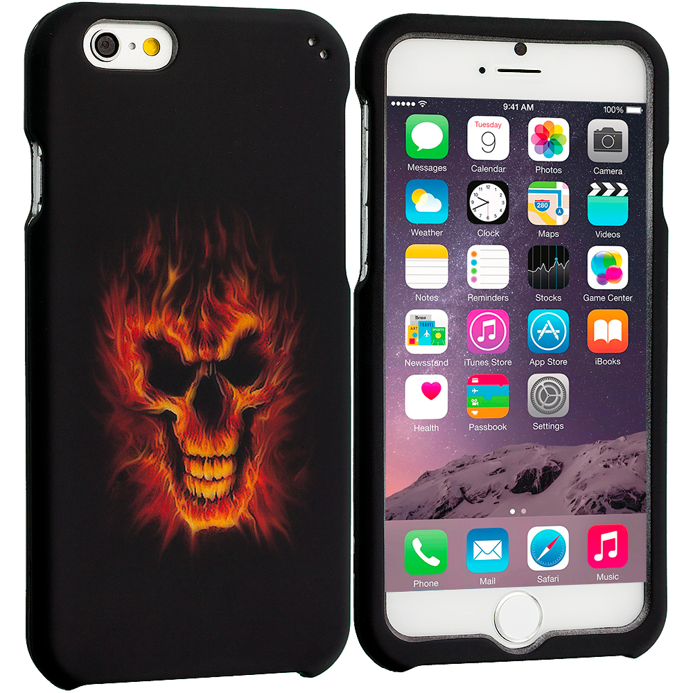 Apple iPhone 6 6S (4.7) Flaming Skull 2D Hard Rubberized Design Case Cover