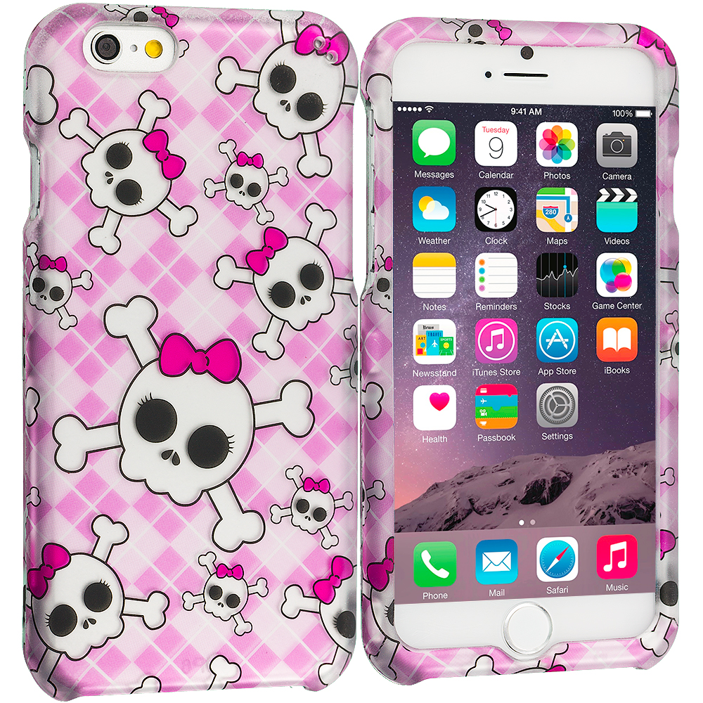 Apple iPhone 6 Plus 6S Plus (5.5) Cute Skulls 2D Hard Rubberized Design Case Cover