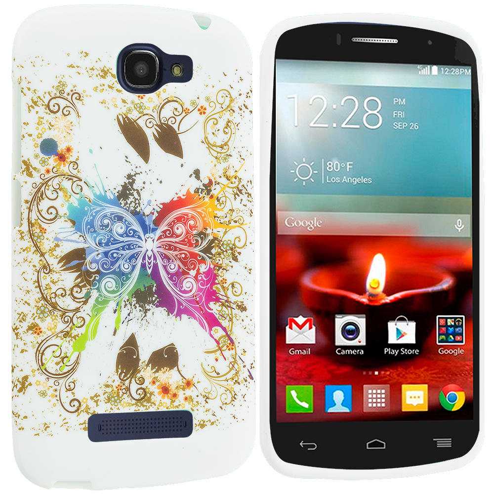 Alcatel One Touch Fierce 2 7040T Colorful Butterfly TPU Design Soft Rubber Case Cover