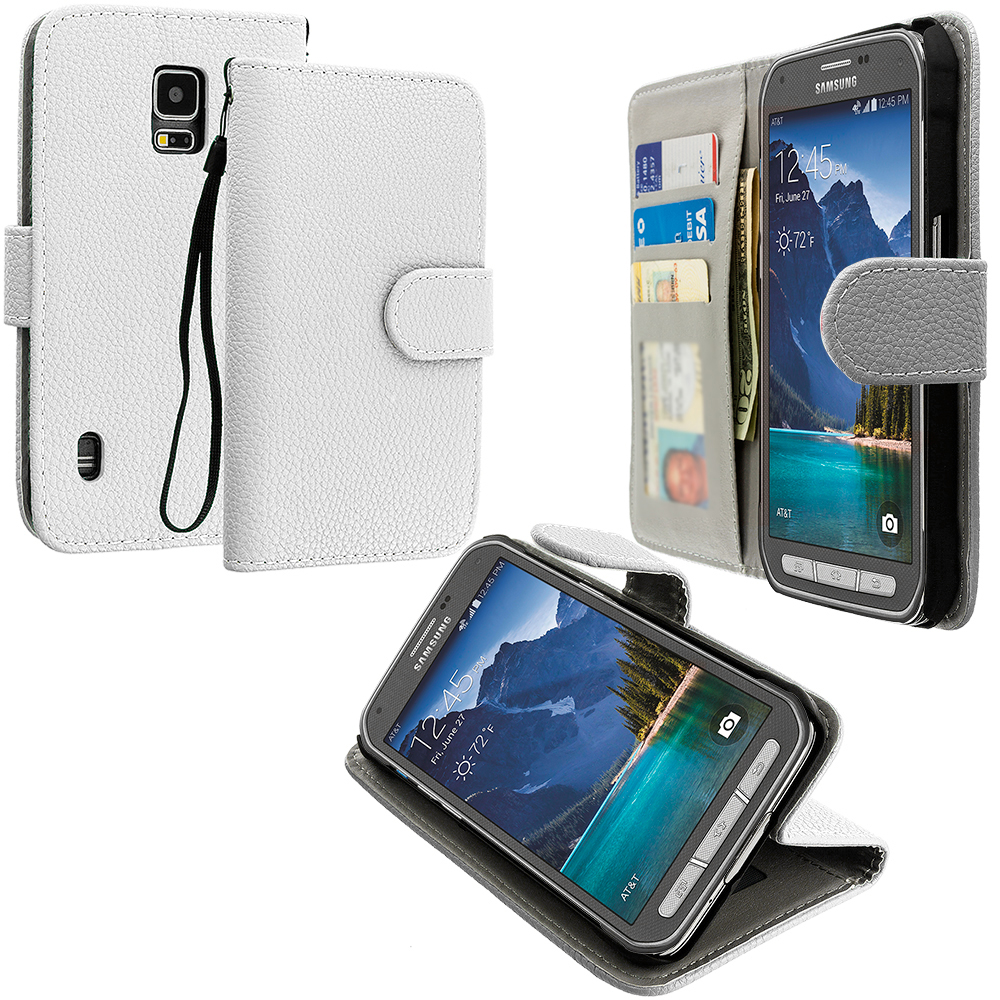 Samsung Galaxy S5 Active White Leather Wallet Pouch Case Cover with Slots