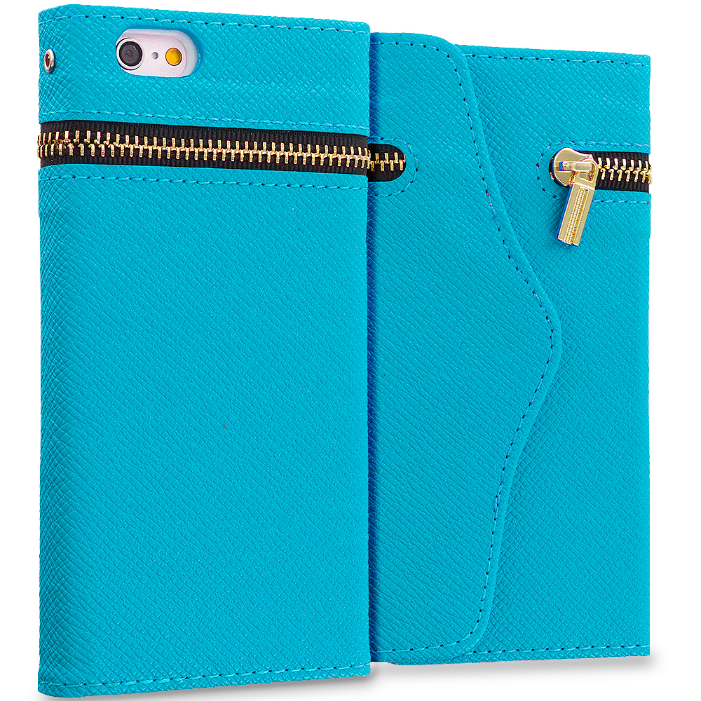 Apple iPhone 6 6S (4.7) Baby Blue Zipper Wallet Case Cover Pouch With Slots