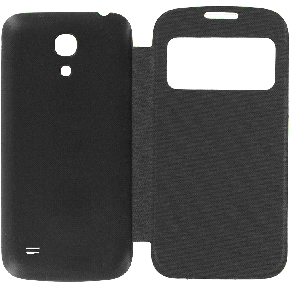 Samsung Galaxy S4 Mini i9190 Black Battery Door Rear Replacement Ultra Slim Wallet Flip Case Cover