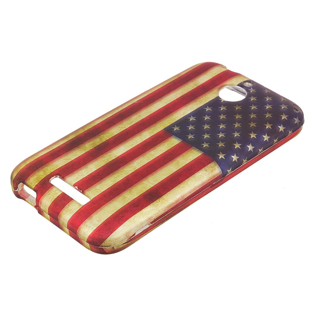 HTC Desire 510 512 USA Flag 2D Hard Rubberized Design Case Cover