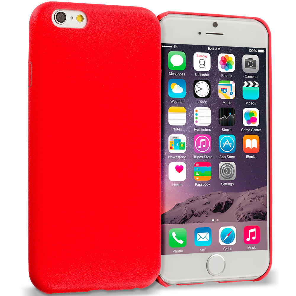 Apple iPhone 6 6S (4.7) 3 in 1 Combo Bundle Pack - Premium Leather TPU Slim Case Cover : Color Red