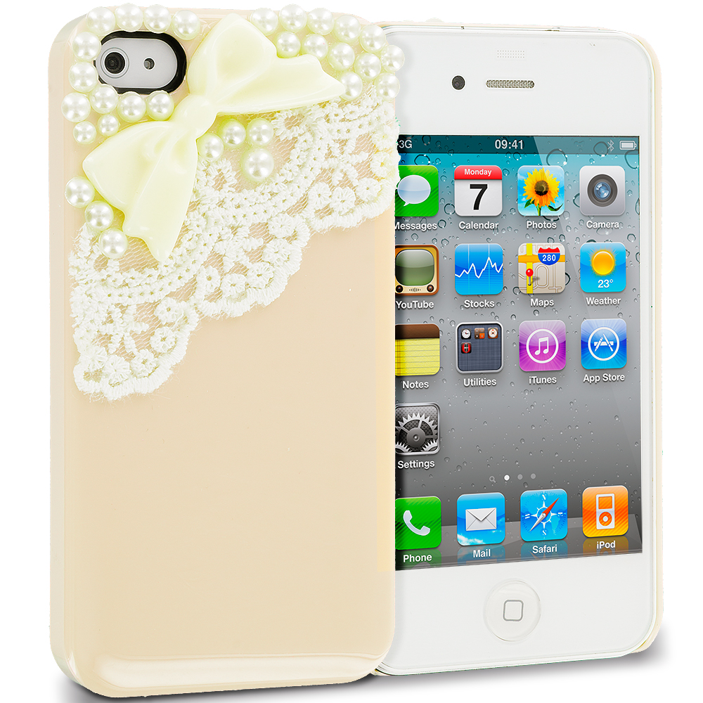 Apple iPhone 4 / 4S 2 in 1 Combo Bundle Pack - Golden Silver Pearls Crystal Hard Back Cover Case : Color Golden Pearls