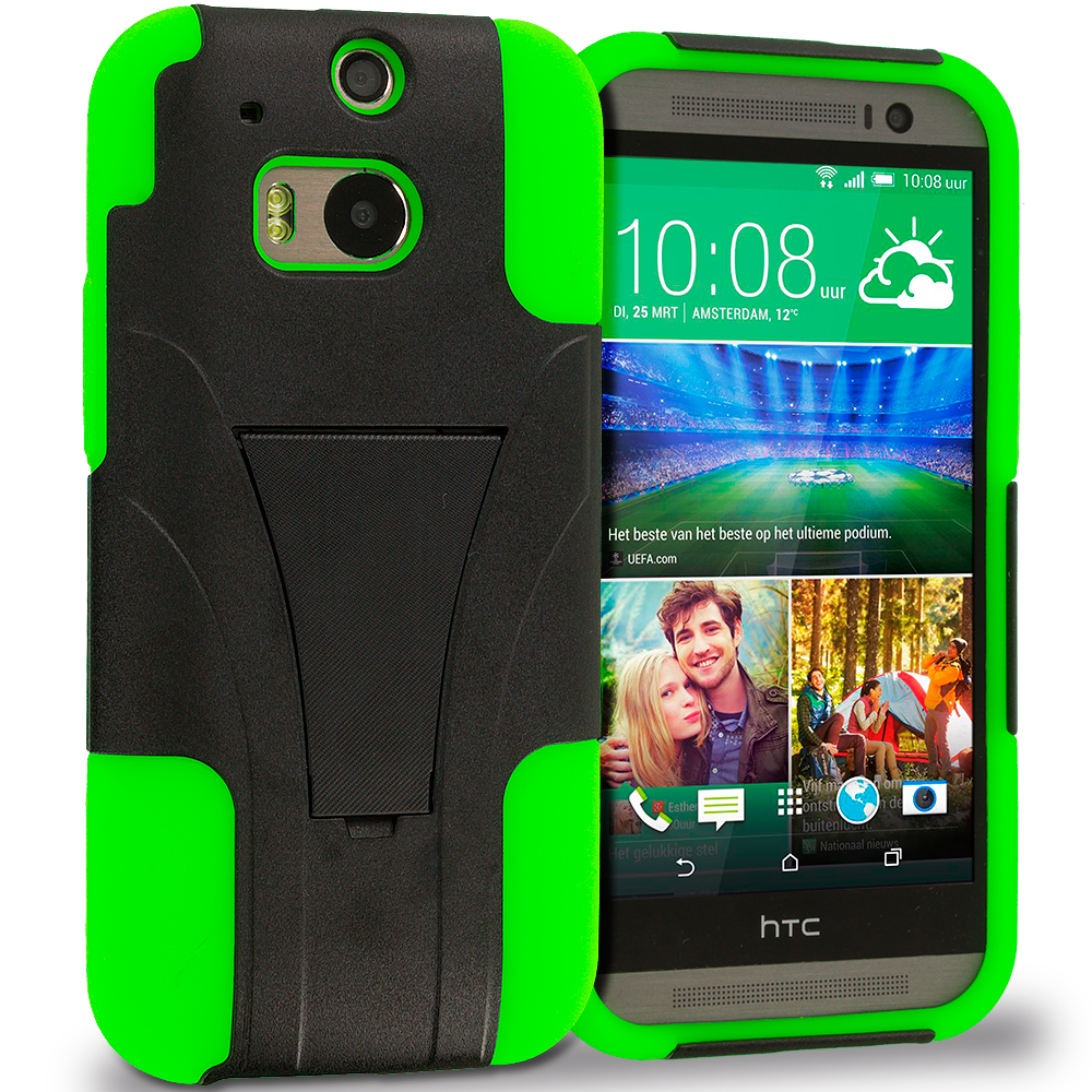 HTC One M8 Neon Green / Black Hybrid Hard Soft Shockproof Case Cover with Kickstand