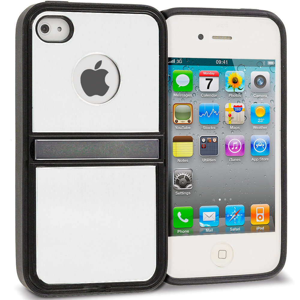 Apple iPhone 4 / 4S Silver Brushed Stand Aluminum Metal Hard Case Cover