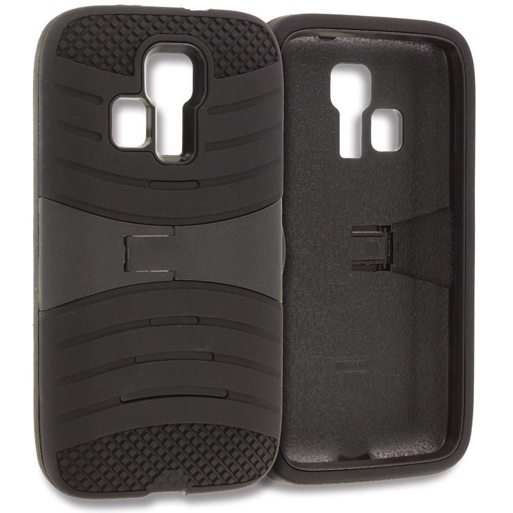 Kyocera Hydro Icon / Hydro Life Black / Black Hybrid Heavy Duty Shockproof Case Cover with Stand