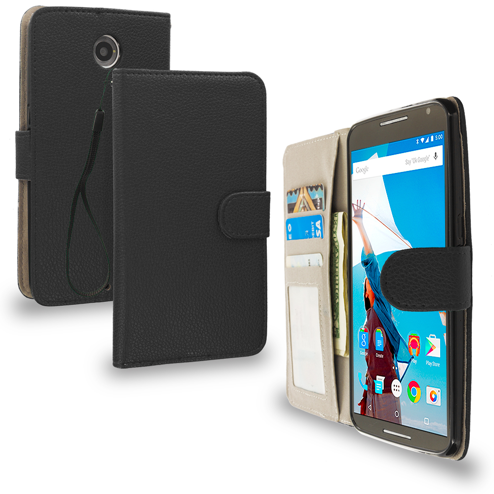 Motorola Google Nexus 6 Black Leather Wallet Pouch Case Cover with Slots