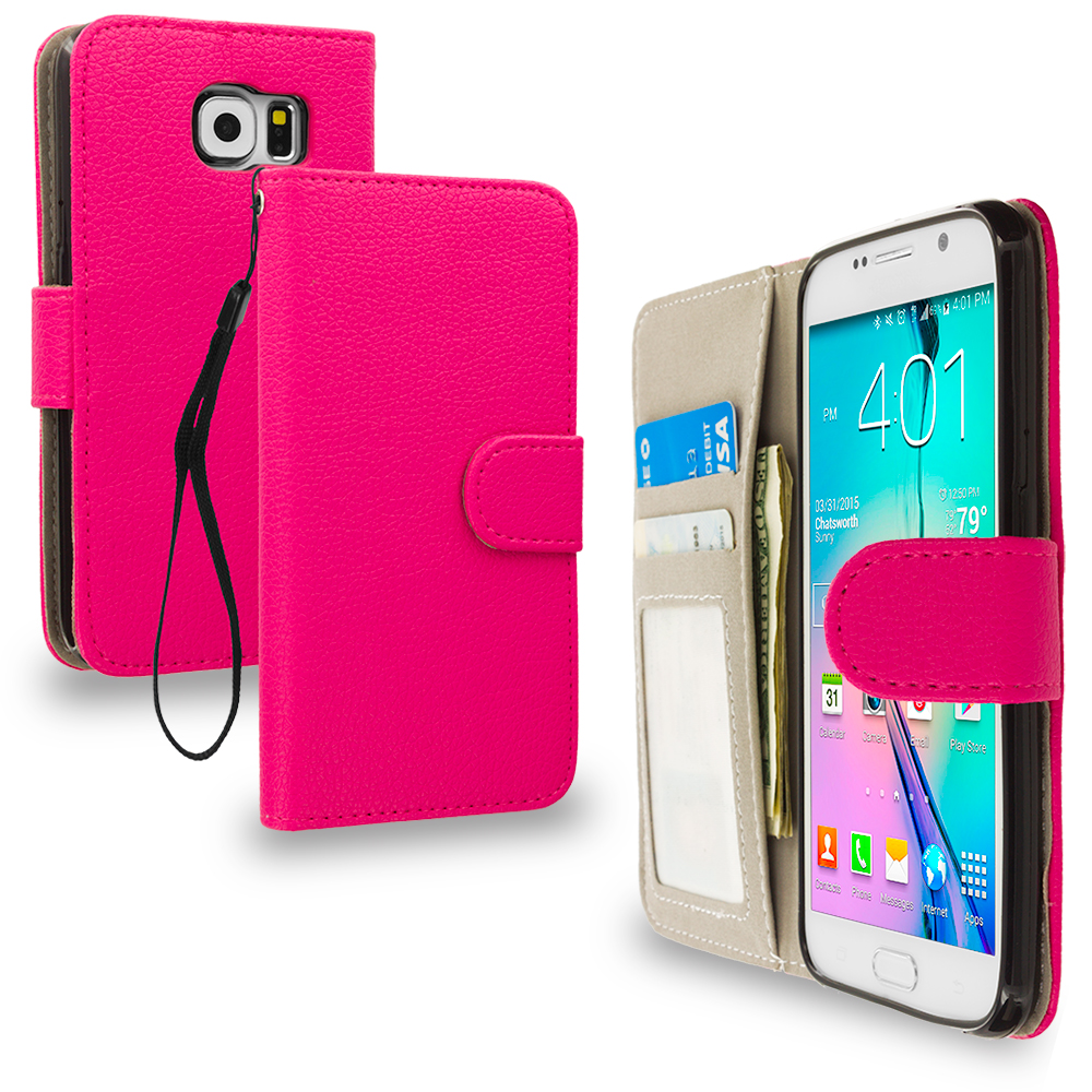 Samsung Galaxy S6 2 in 1 Combo Bundle Pack - Crocodile Leather Wallet Pouch Case Cover with Slots : Color Hot Pink