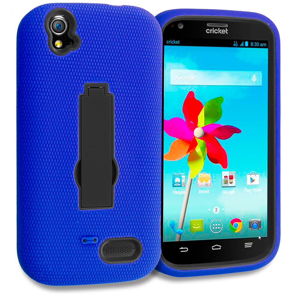 ZTE Grand X Z777 Blue / Black Hybrid Heavy Duty Hard Soft Case Cover with Kickstand
