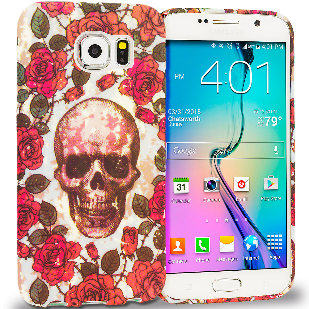 Samsung Galaxy S6 Combo Pack : Gorgeous Skull TPU Design Soft Rubber Case Cover : Color Gorgeous Skull
