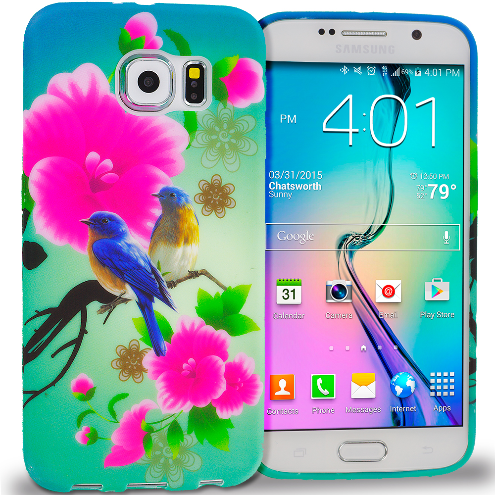Samsung Galaxy S6 Combo Pack : Flower Painting TPU Design Soft Rubber Case Cover : Color Blue Bird Pink Flower