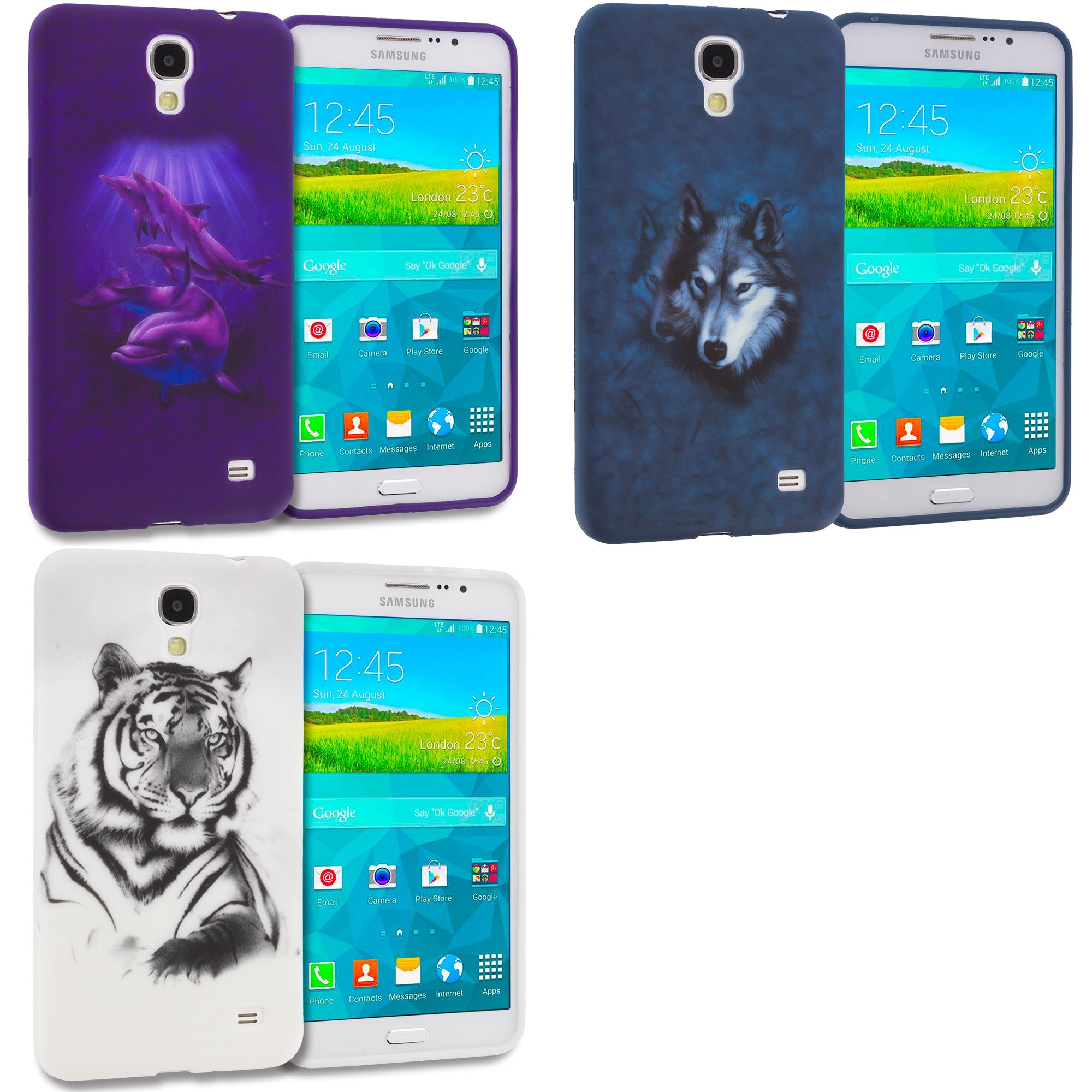 Samsung Galaxy Mega 2 Combo Pack : Purple Dolphin TPU Design Soft Rubber Case Cover