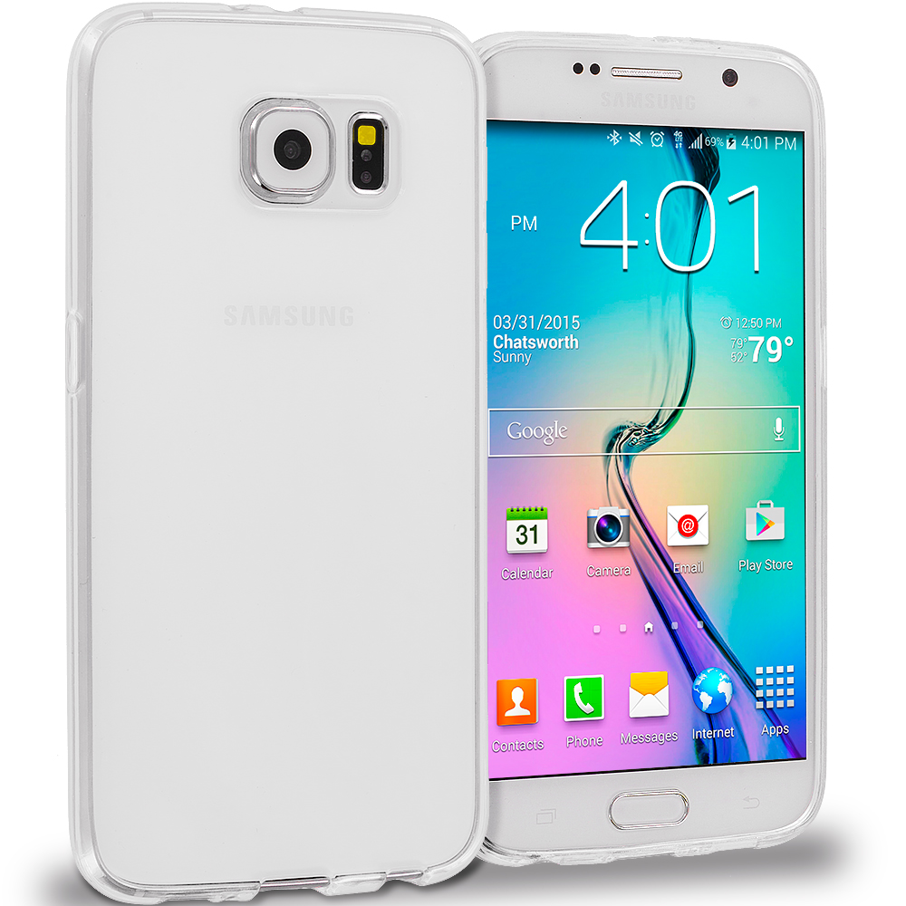Samsung Galaxy S6 3 in 1 Combo Bundle Pack - Plain TPU Rubber Skin Case Cover : Color Clear Plain