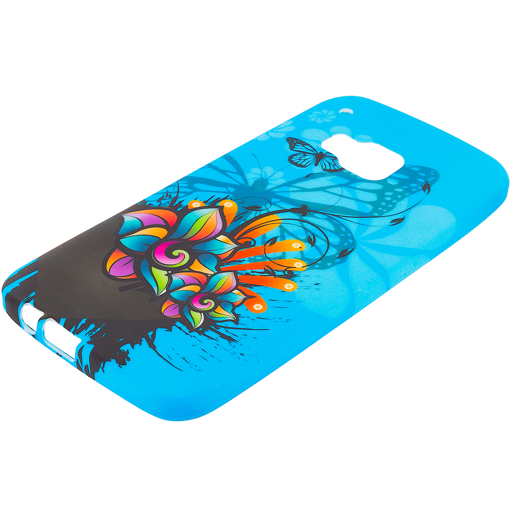 HTC One M9 Blue Butterfly Flower TPU Design Soft Rubber Case Cover