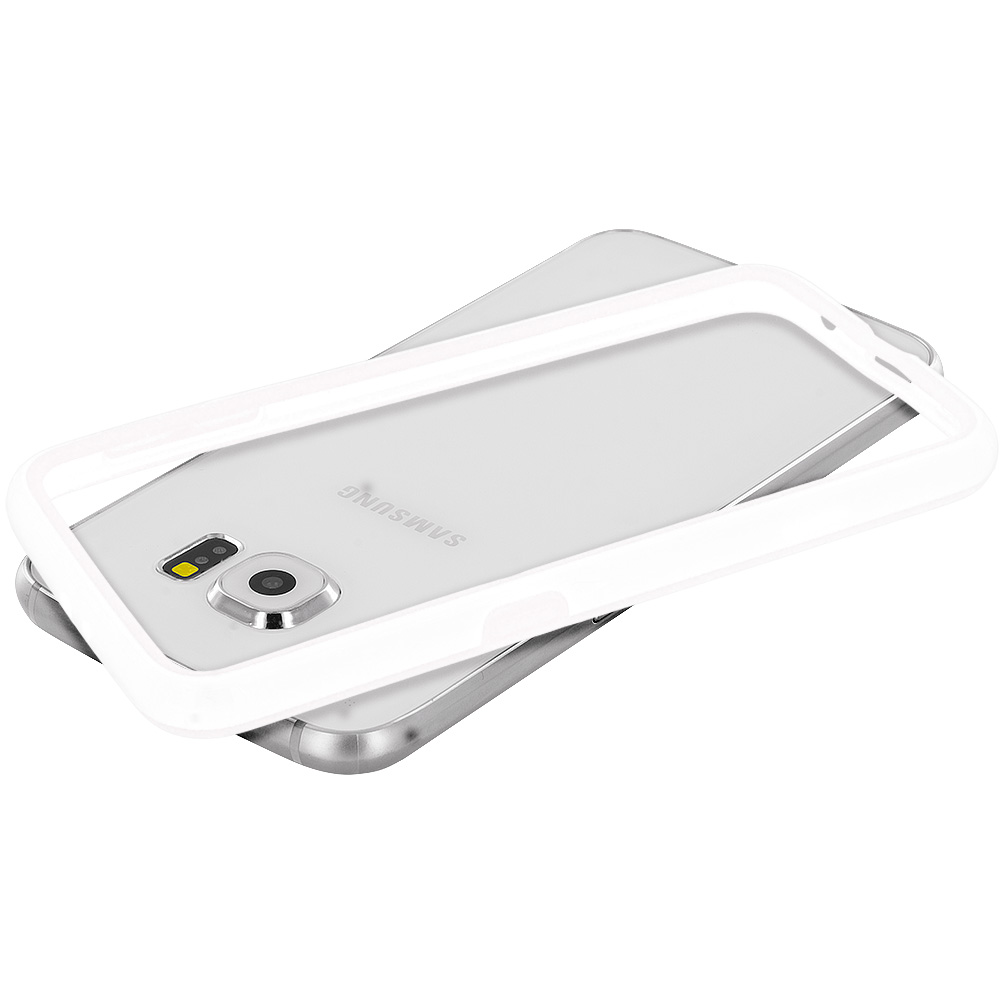 Samsung Galaxy S6 Combo Pack : White / Clear TPU Bumper Frame Case Cover : Color White