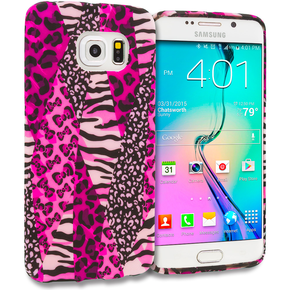 Samsung Galaxy S6 Edge Bowknot Zebra TPU Design Soft Rubber Case Cover