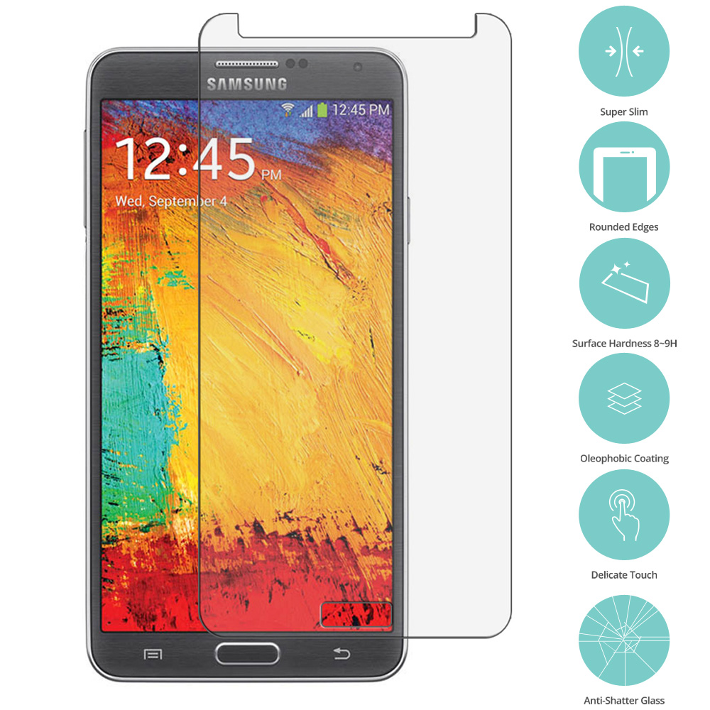Samsung Galaxy Note 3 N9000 Clear Tempered Glass Film Screen Protector Clear