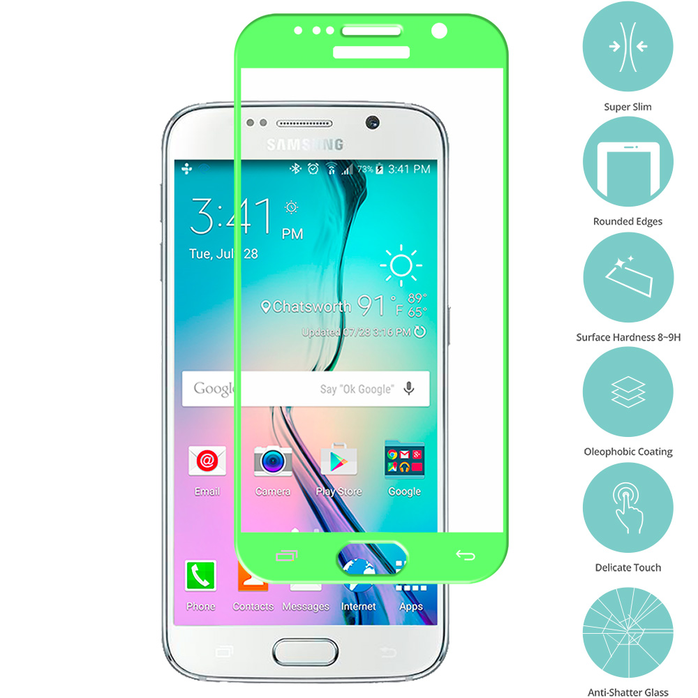 Samsung Galaxy S6 Neon Green Tempered Glass Film Screen Protector Colored
