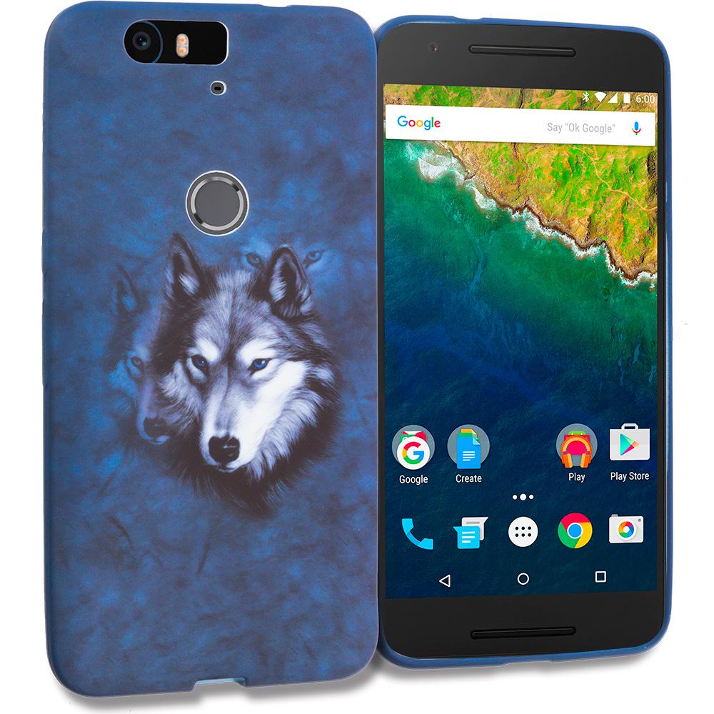 Huawei Google Nexus 6P Wolf TPU Design Soft Rubber Case Cover