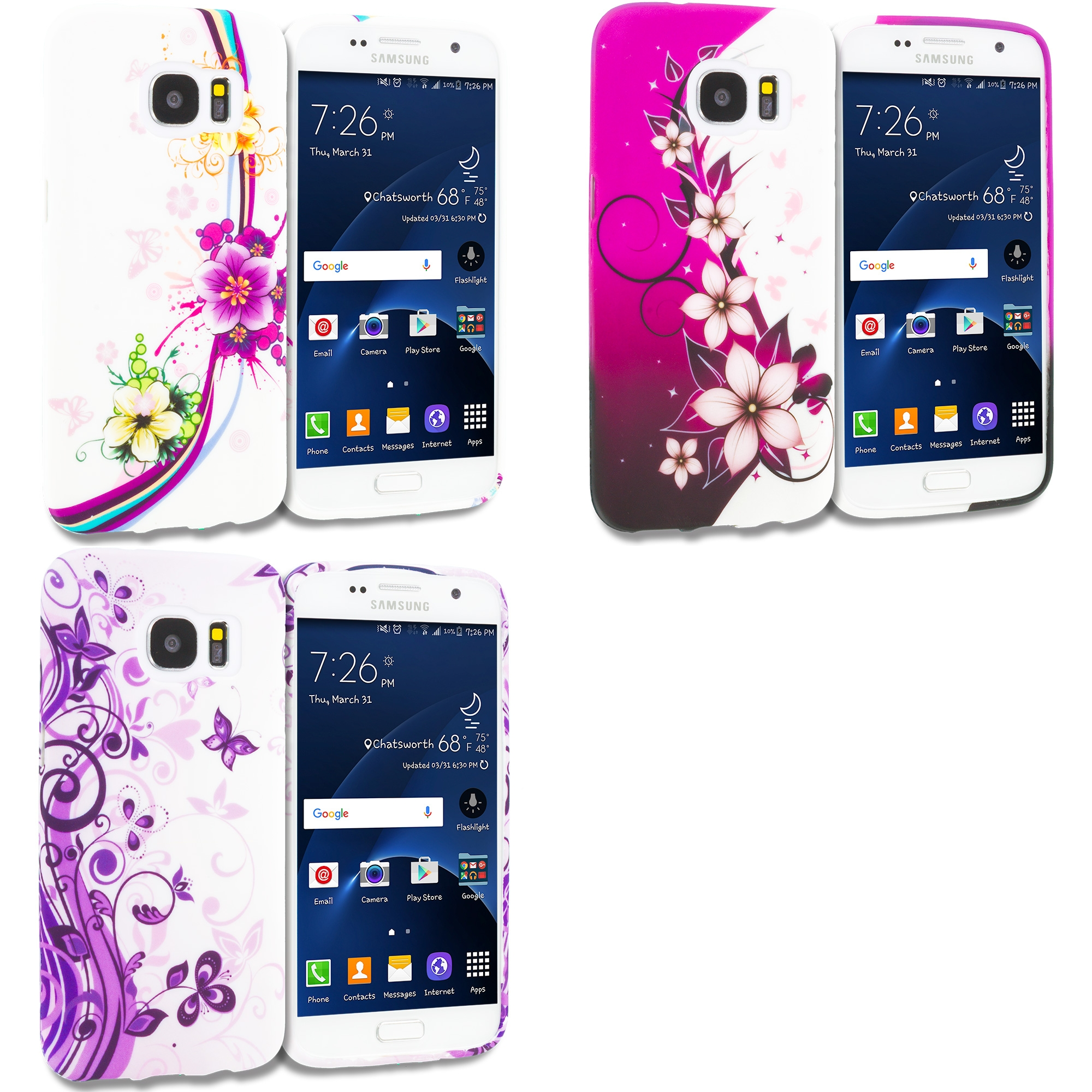Samsung Galaxy S7 Combo Pack : Purple Flower Chain TPU Design Soft Rubber Case Cover