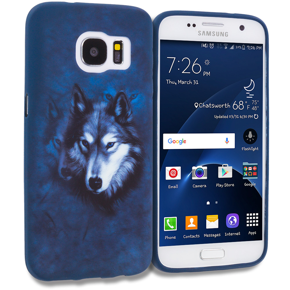 Samsung Galaxy S7 Combo Pack : Shark TPU Design Soft Rubber Case Cover : Color Wolf