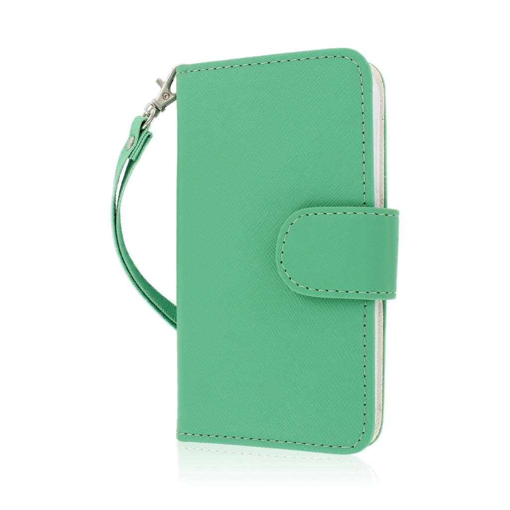 Alcatel OneTouch Fierce - Mint/ White MPERO FLEX FLIP Wallet Case Cover