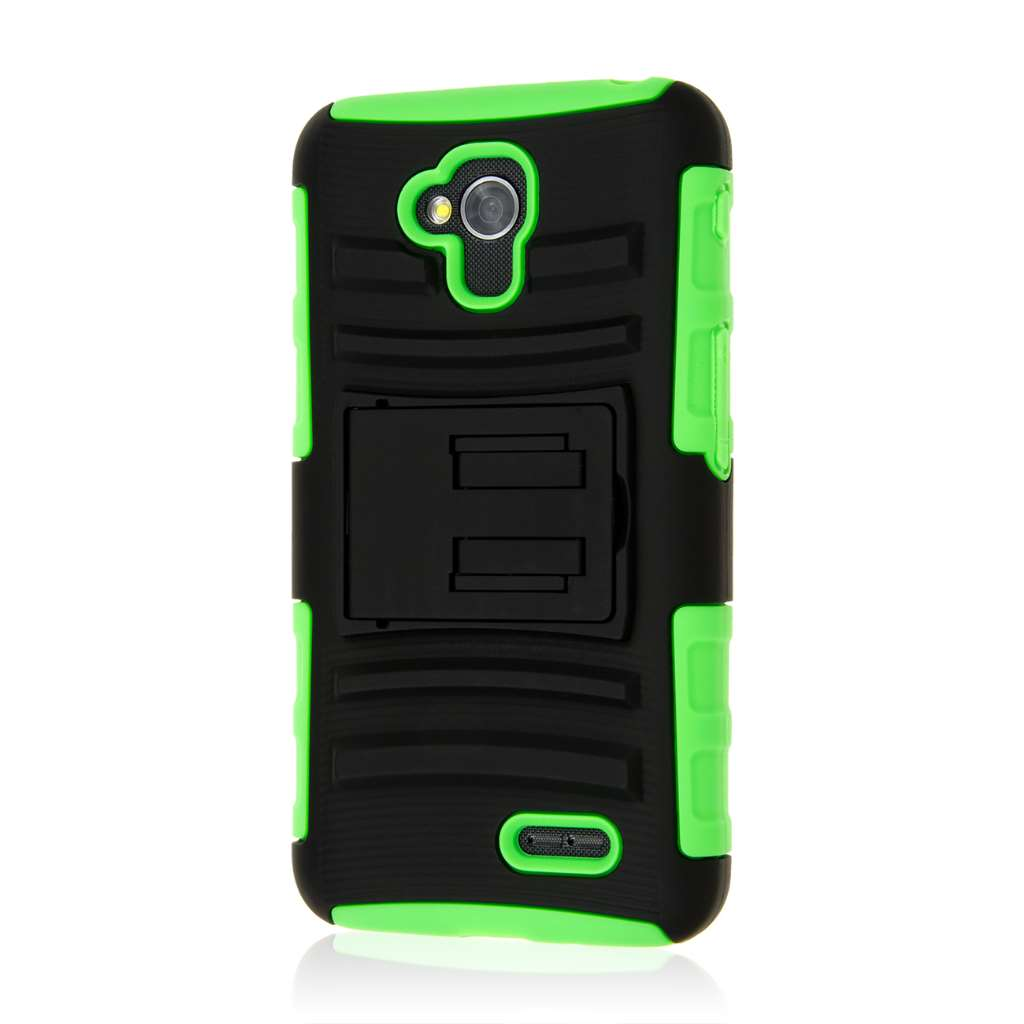 LG Optimus L70 - Neon Green MPERO IMPACT XT - Kickstand Case Cover